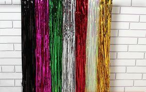 Folienvorhänge Metallic Fringe Vorhänge Schimmer Vorhang Hintergrund Tür Fenster Vorhang Party Decorationfor Geburtstag Hochzeit Weihnachten De