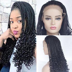 Натуральный черный микро-плетение волос парики с вьющимися концами синтетический парик фронта шнурка Половина плетеные парики для чернокожих женщин парики с волосами