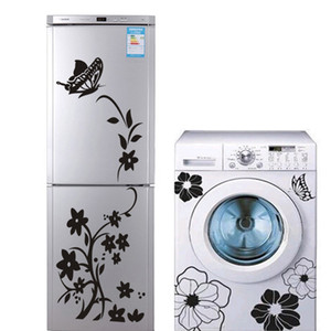 2PCS Creative haute qualité Réfrigérateur Machine à laver papillon autocollant salle de bains Décorez votre maison Wall Sticker Fond d'écran