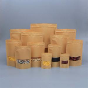 Brown Kraft Paper Bag Lebensmittel Feuchtigkeitsbeständig Taschen Stand up Zipper Resealable Food Grade Kaffee-Beutel-Beutel mit Fenster Biscuit
