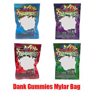 New Dank Gummies Mylar Tasche Edibles Einzelhandel Zip Sperre Verpackung Worms 500MG Bären Würfel Gummy für trockene Kräuter Tabak Blume Vape Im Lager