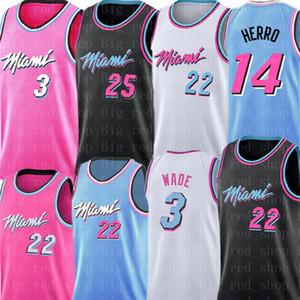 Дуэйн Уэйд 3 Джимми Батлер 22 Джерси NCAA College Тайлер 14 Херро Кендрик 25 Нанна баскетбольное Мужские Белый Черный Розовый Синий