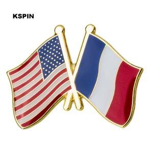 U.S.A Francia Amicizia Bandiera Metallo Pin Badge Pin spilla decorativa per tessuto XY0288-2