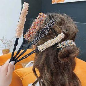 Women Flower Donut Bun Maker Crystal Ribbon DIY Hair Style Making Tools Korean Fashion Style Hair Curler Accessories