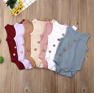Summer Newborn Toddler Boys Girls Rompers Solid Colors Jumpsuit Cotton Button V-neck Sleeveless Knitted Rompers Outfits
