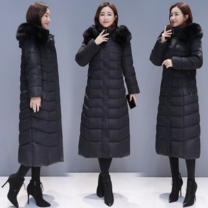 2019 Winter New Style Korean-style Elegant Fashion Slim Fit over-the-Knee Long Large Fur Collar down Jacket Cotton-padded Clothe Outdoor Jac