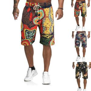 Mens del verano shorts de playa ata para arriba la impresión multicolor cortocircuitos flojos Casual Male diseño del traje de baño de los pantalones