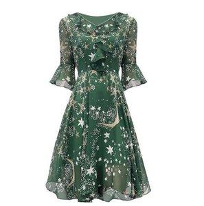 Di trasporto di estate stampa floreale del vestito dalle donne vestito casuale chiffon Fiore Scollo a V Ruffle tunica elegante Impero vita alta Woman Dress libero