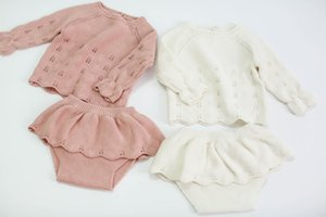 2020 ins Baby knitting Hollow Out Clothes Set Long Sleeve Sket And Shorts Hotsale Newborn Tidder Knocked Clothing T200414