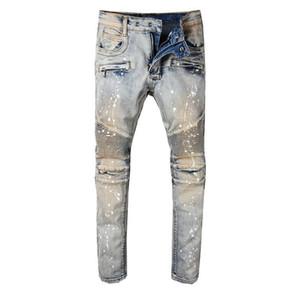 Men's Vintage Painted Stretch Cotton Denim Biker Jeans Slim Fit Pleated Pants for Motorcycle Fashion New