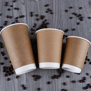 Устранимые бумажные стаканчики упаковки выноса двойная изоляция жары палубы молоко кофе чая бумаги Крафт церемония открытия чашка 0 39би Л1