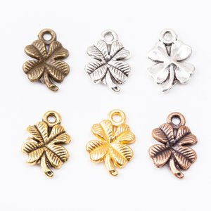 100pcs 17*11MM Antique silver color red copper lucky clover charms metal bronze pendants for bracelet earring necklace diy jewelry making