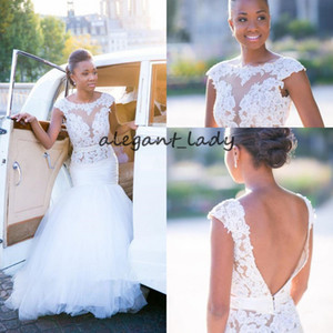 Abiti da sposa a sirena con apertura sul retro e maniche 2019 Pizzo Applique Sheer Jewel Collo Tutta la lunghezza African Nigerian Garden Church Wedding Gown