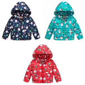 Weihnachtskinder Daunen Mäntel Baby Winter Baumwolljacke Jungen Mit Kapuze Oberbekleidung Tops Mädchen Weihnachten Cartoon Print Hoodies Outwear Baby Kleidung D6269