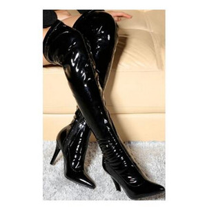 Fashionable High-quality Elastic Lacquer-tipped Black PU Patent Leather Boots,Lady Over Knee Boots, Sexy Women White High Heels Party Shoes