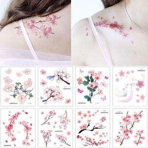 Kleine Kirschblüten-Blumen-Aufkleber Tattoo Einfache Farbzeichnung Body Art Schulter Clavicleweinlesehalskette Arm Hand Design wasserdicht temporäre Tätowierung-Aufkleber