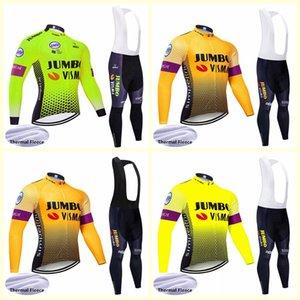 Jumbo Visma equipo de ciclismo de manga larga de invierno jerseys de invierno de los hombres térmica Fleece babero del juego de pantalones MTB ropa deportiva Ropa Ciclismo B618-56