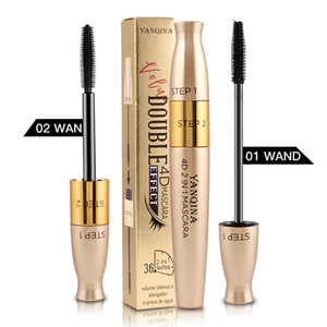 MP032 YANQINA Black Eyelash Curling brush 2 In 1 Liquid Mascara 4D Women Eyes Makeup Eyelashes Thick Lengthening Waterproof
