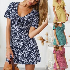 abito estivo 2019 spiaggia dressWomen stampato floreale manica corta con scollo a V spiaggia di estate Abito increspato vestido de festa