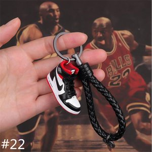 Luxury Keyrings Sneaker Rings Retro Basketball Shoes Woven Key Rings KeyChains Bred Banned 24 styles free shipping