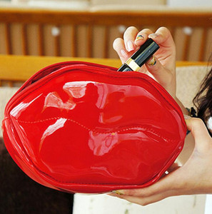 Creative Lips Makeup Bag Women New Fashion Handbags Large Capacity Cosmetic Bags Adhesive Change Purse
