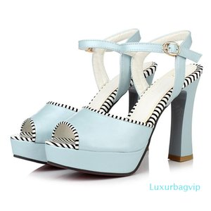 Sexy2019 Grace Stripe Band England Peep-toe Sexy Waterproof Platform Coarse High With Sandals P221