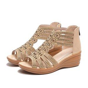New Fashion Wedge Sandals Women Summer Shoes Elegant Ladies Rome Sandals Brand Female Sandalias Black Wedge Heels YX1629 Y200702
