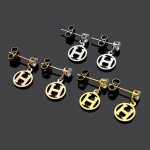 2020 designer jewelry single-driller rings H letter earrings lady hot sale H letter earrings
