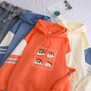 Funny Kawaii Crayon Shin Chan Anime Print Hooded Hoodie Women Autumn Winter Warm Long Sleeve Harajuku Patchwork Pullover Outwear Y200706