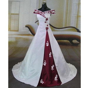2020 새로운 멋진 흰색과 부르고뉴 웨딩 드레스 빈티지 핸드 메이드 아플리케 오프 숄더 새틴 A 라인 웨딩 드레스 Vestido 드 Noiva 749