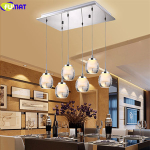 FUMAT Stainless Steel Acrylic 3 or 5 Lights Ceiling Lamps LED Modern Chandelier Hanging Light Fixture For Dining Room Kitchen