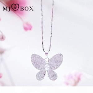 Temperament three-dimensional butterfly inlaid zircon necklace sweater chain simple atmosphere shine