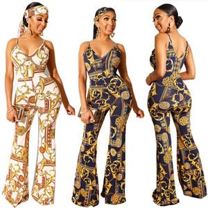 New Mulheres Clubwear Macacões Lady Vogue Cadeia Imprimir Verão Playsuit mangas decote em V Belt Romper Alargamento Jumpsuit Calças