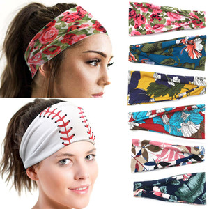 75 Styles bandeau large fleur noeud Bandeau football rayé Yoga imprimé bande de cheveux Turban Floral Hairdband Bandage sur la tête pour les filles M991