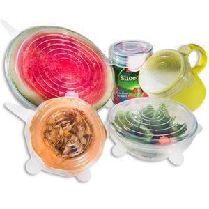 6pcs / set Universal Silicone estiramento tampas de panelas Glass Bowl Pan Pot Lid Silicone Food Enrole tampa reutilizável derramamento Stopper Tampa Seal