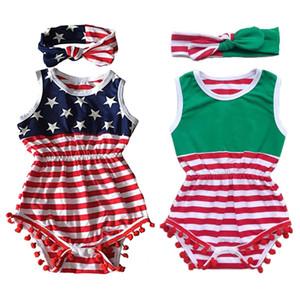 Bebek İki parçalı Suits Ulusal Bayrak Tekstil Baskı Tek parça Suit + Hairband ilmek Topu En 0-3T Çocuk Sui yazdır