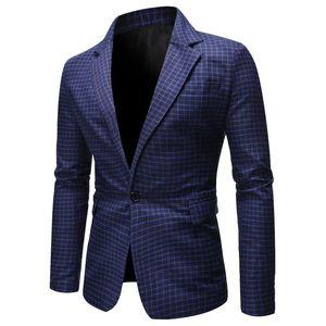 Les costumes Ligne Imprimé Lapel Neck formelle Homme Blazers Automne Bouton simple Homme Vêtements Printemps Hommes Plaid