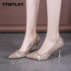 Sequins Pointed Toe Shoes Women Pumps Plus Size 33-41 Woman  Bling High Heels Female Ladies Sexy Party Wedding Gold Heel