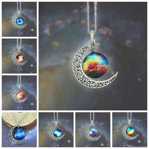 Colliers tour de cou alliage bijoux en acier inoxydable verre déclaration galaxie lune colliers chaîne en argent colliers