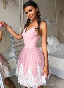 겸손한 밝은 분홍빛과 아이보리 짧은 길이 홈 커밍 드레스 섹시한 스파게티 Tulle Skirt Simple Cocktail Wears