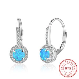 bonne qualité bijoux en argent sterling estampillé S925 fille boucles d'oreilles de forme ronde avec le feu bleu opale gros