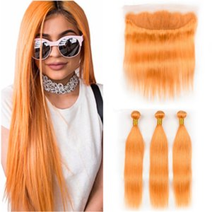 """Droit brésilien Couleur Orange Tissages cheveux humains 3 Bundles avec Frontal orange Pure Virgin Hair Lace Frontal Fermeture 13x4"""" avec Bundles"""
