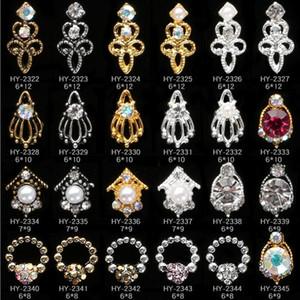 Adesivi per unghie ritorno Nail art 3D Lega in lega di metallo perla cristallo decorazione cavo diamante cellulare strass glitter charms gioielli gioielli natale