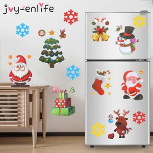 heap Pendant & Drop Ornaments Christmas Decoration Window Sticker Santa Claus Snowman Elk Glass Sticker Xmas Decoration for Home New Year...