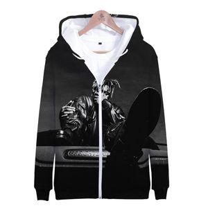 Rapper Juice wrld cappotti di inverno RIP Zipper 3D Stampato Popolare Mens Jackets Skulls casuale allentato Cardigan con tasche
