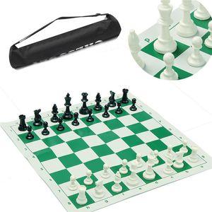 Juego de tablero de ajedrez tradicional portátil de viaje para club de torneos con tablero enrollable verde + bolsa de plástico juego de ajedrez Q190604
