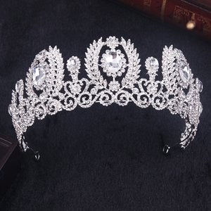 Elegantes Gold Silber Farbe Diademe und Kronen Mädchen Prinzessin Haarschmuck Tiara Für Braut Kronen Bräute Haarschmuck HG-066 C18122501