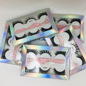 El último pestaña falsa 3d visón latigazos 3 par gruesas pestañas Faux 3D pestañas de visón Real con pinzas en 6styles caja