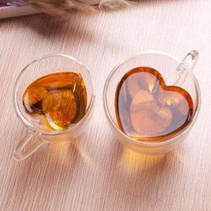 핸들 로맨틱 한 선물 180ML LXL1048-1 우유 차 컵 모양의 유리 커피 머그컵을 두 번 벽 열 증거 우유 컵 투명 심장