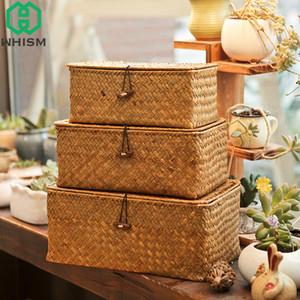 WHISM Woven Basket archiviazione con coperchio Rattan Sundries Storage Box cestino di vimini fatto a mano Box per selezione Seagrass Jewelry Organizer T200602